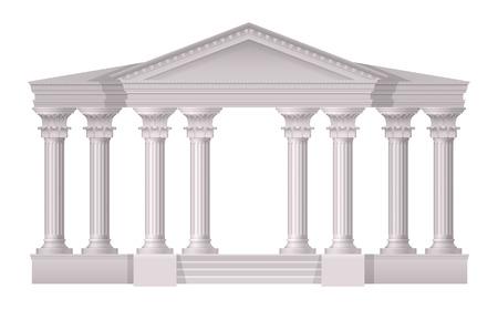 Composizione realistica delle colonne bianche antiche realistiche con stile 3d sull'illustrazione bianca di vettore del fondo