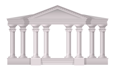 Realistic antique white columns realistic composition with 3d style on white background vector illustration