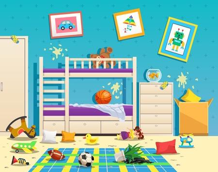 Interior de habitación de niños desordenado con manchas sucias en la pared y juguetes dispersos en la ilustración de vector plano de piso