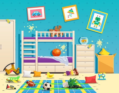 Messy children room interior with dirty stains on wall and scattered toys on floor flat vector illustration Stock Vector - 111186641