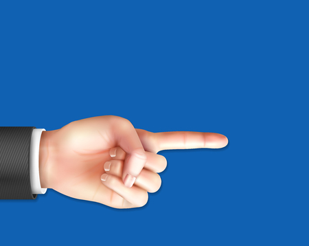 Realistic male hand with pointing index finger on  blue background vector illustration