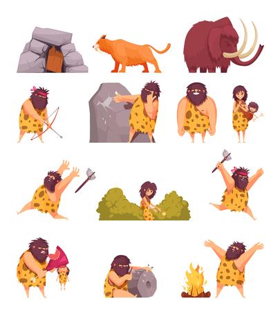 Primitieve mensen in het steentijdbeeldverhaalpictogrammen die met holbewonerspellen met wapen en oude dieren geïsoleerde vectorillustratie worden geplaatst