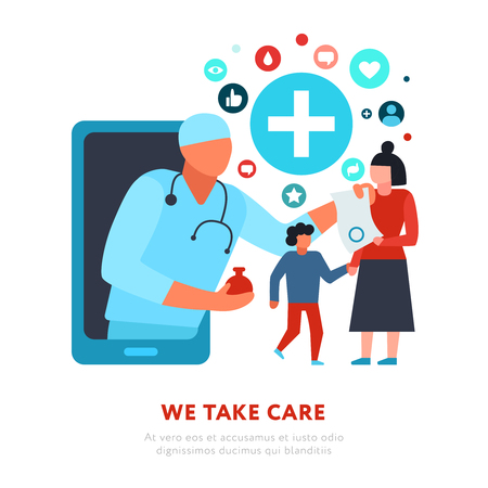 Digital medicine family doctor woman with son during online consultation on white background flat vector illustration