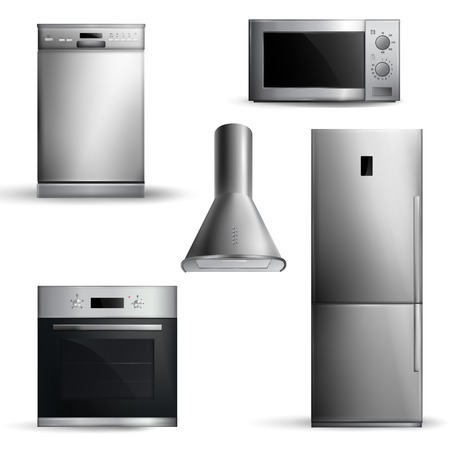 Set of realistic kitchen appliances of silver color front view on white background isolated vector illustration