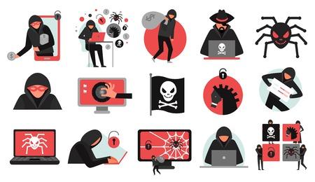 Conjunto de actividad de piratas informáticos de iconos rojos negros que rompen el malware de la cuenta y el robo de datos aislados ilustración vectorial