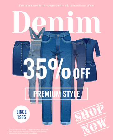 Sale with discount of denim clothing advertising poster on pale pink background flat vector illustration