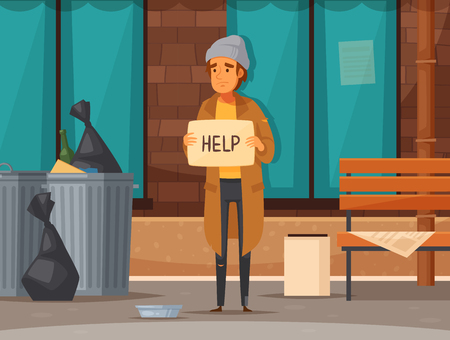 Flat homeless people cartoon composition with man begging on the street in autumn vector illustration