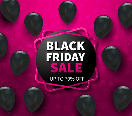 Pink background with black friday sale advertisement and realistic balloons vector illustration