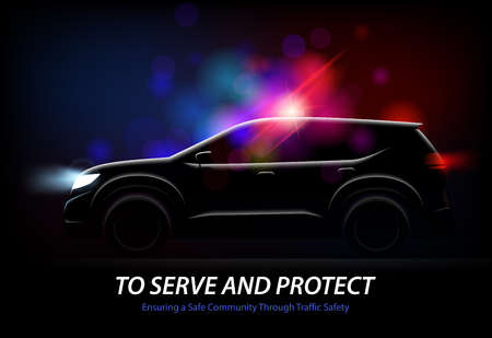 Realistic police car lights with profile view of moving automobile with glowing lights and editable text vector illustration Foto de archivo - 111186783
