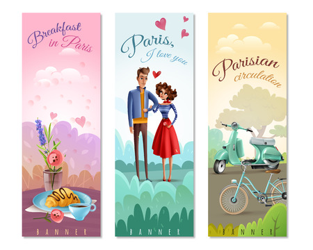 France paris set of vertical banners with coffee, croissant, eiffel tower, bicycle and scooter isolated vector illustration