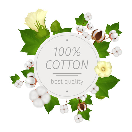 Colored round cotton realistic composition or emblem with flowers of cotton around and best quality headline at the center vector illustration
