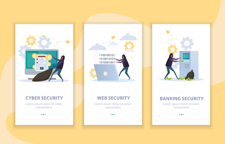 Set of flat vertical banners cyber security protection of internet resources and banking equipment isolated vector illustration