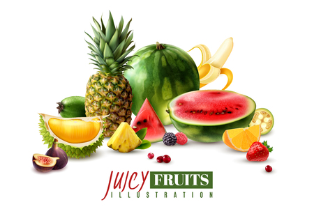 Fresh juicy fruits whole and serving pieces wedges slices realistic composition with watermelon fig pineapple vector illustration Illustration