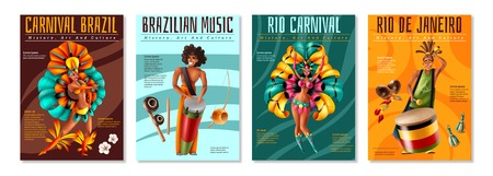 Brazilian annual carnival festival celebrations realistic colorful posters set with traditional musical instruments costumes isolated vector illustration Illustration