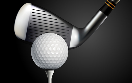 Golf club and ball on black background realistic vector illustration Illustration