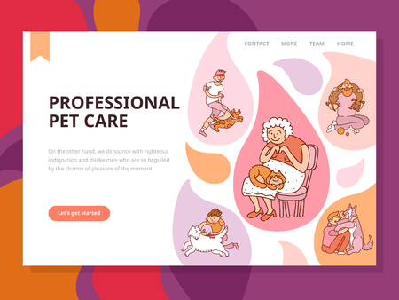 Professional pet care page with grooming and games symbols flat vector illustration