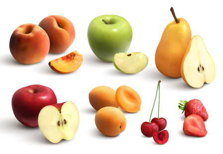 Cutted fruits realistic set including apple pear cherry peach apricot strawberry isolated vector illustration