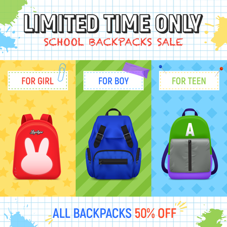 Realistic school backpack advertising illustration with editable text and book bag for girls boys and teens vector illustration