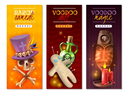 Voodoo religious occult practices with doll colorful pins love hate revenge messages 3 vertical banners vector illustration Ilustração