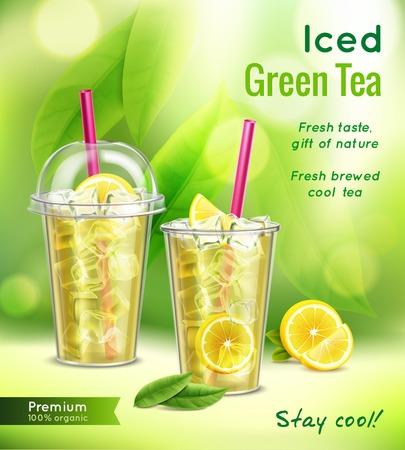 Composizione pubblicitaria realistica di tè verde ghiacciato con 2 bicchieri pieni foglie di menta limone sfondo sfocato illustrazione vettoriale Vettoriali