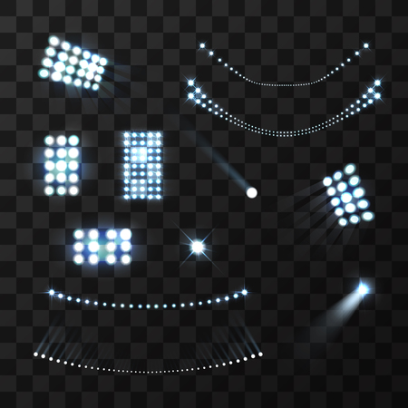 Stadium blue lights and lamps realistic set isolated vector illustration