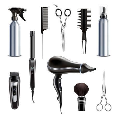 Friseursalon Friseur Styling Tools realistische Sammlung mit Haartrockner Schere Trimmer Rasierer Rasierpinsel isolierte Vektorillustration Vektorgrafik
