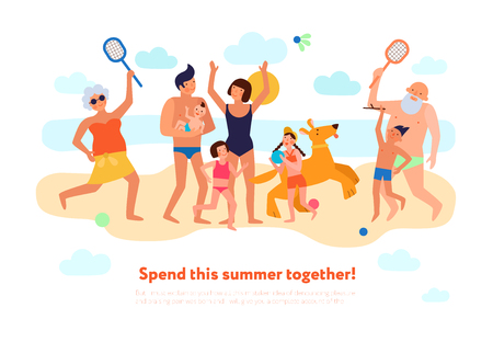 Family summer vacation flat composition with happy kids parents and grandparents playing together on beach vector illustration Illustration