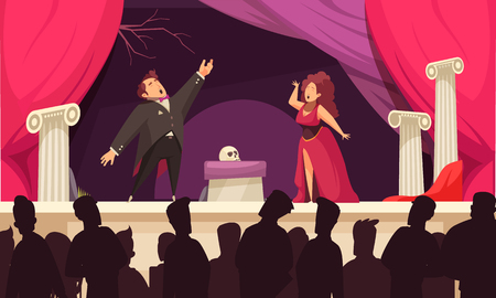 Opera theater scene flat cartoon poster with 2 singers aria onstage performance and audience silhouettes vector illustration 免版税图像 - 111186906