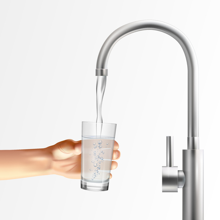 Faucet realistic composition with images of metallic faucet running water into glass held by human hand vector illustration