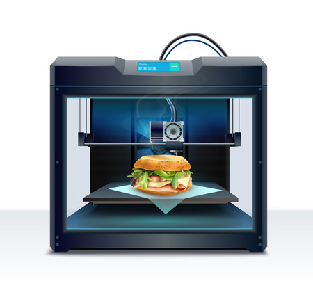 Realistic composition with process of burger 3d printing vector illustration Stock fotó - 128160644