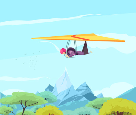 Skydiving extreme sport flat poster with free style hang gliding above oriental trees and mountains vector illustration Banque d'images - 111187538