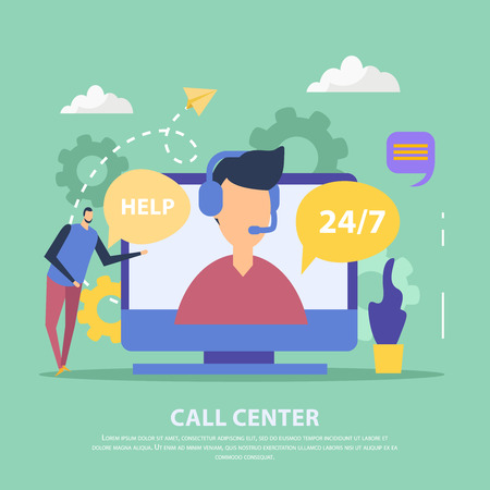 Operator of call center for client support in headset on computer screen green background flat vector illustration Foto de archivo - 111187540
