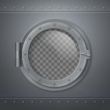 Graues Metall Bullauge realistisch und 3D-Komposition mit abstrakter transparenter Fenstervektorillustration
