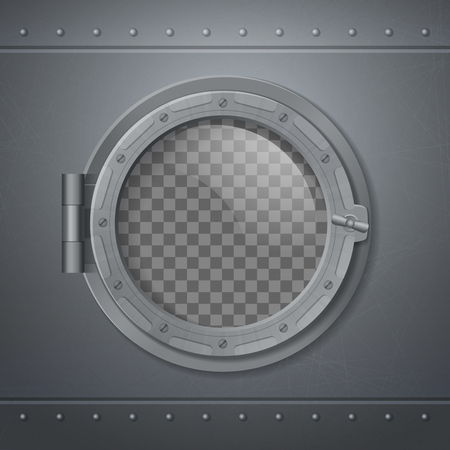 Gray metal porthole realistic and 3 d composition with abstract transporent window vector illustration