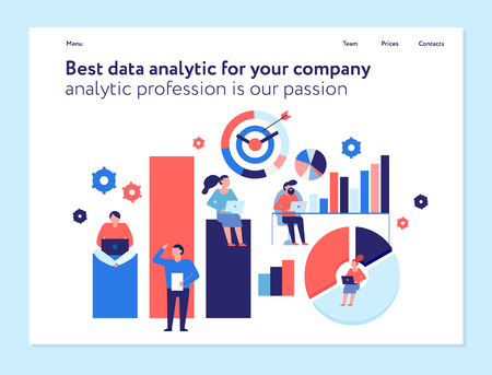Best data analytics tools for your company business organization concept flat web page banner design vector illustration