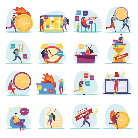 Deadline flat icons with hurrying and worried human characters during work isolated vector illustration