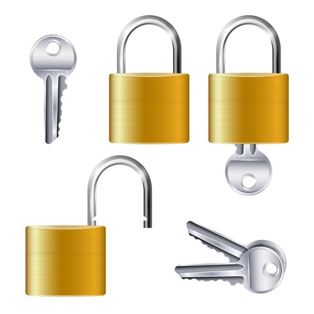 Realistic set of identical gold metallic open and closed padlocks and keys on white background isolated vector illustration