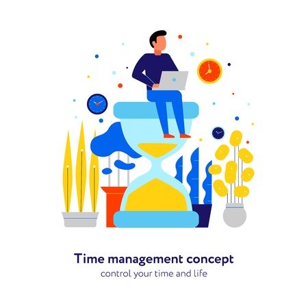 Time management effective schedule control concept flat composition with activities planning man sitting on hourglass vector illustration