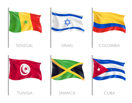 Country flags set with Senegal and Cuba flags realistic isolated vector illustration Ilustração
