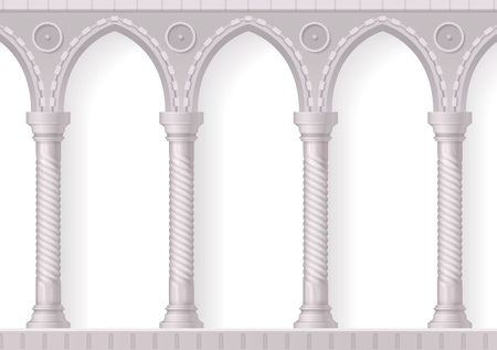 Four antique white columns realistic 3d composition with ribbing on white background vector illustration Illustration