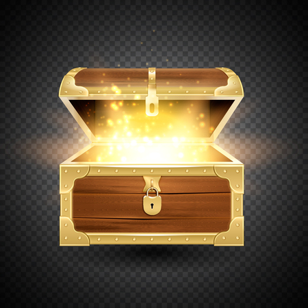 Shine in old wooden chest realistic composition on transparent background with vintage coffer and sparkling particles vector illustration Ilustrace