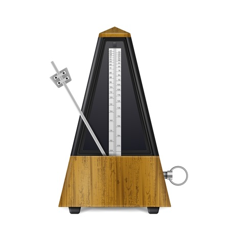 Mechanical wooden swinging metronome in retro style isolated on white background realistic vector illustration