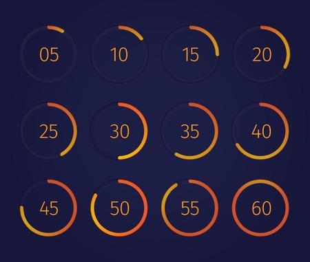 Digital clock timer set with modern technology symbols realistic isolated vector illustration Illustration