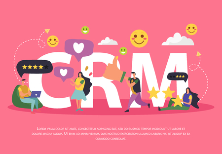 CRM customer relationship management background composition of cartoon human characters pictograms thought bubbles and editable text vector illustration