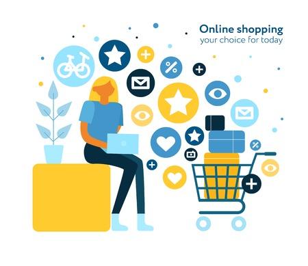 Composition plate d'achats en ligne avec une jeune femme surfant sur des magasins Internet mettant des objets achetés dans une illustration vectorielle de panier électronique Vecteurs