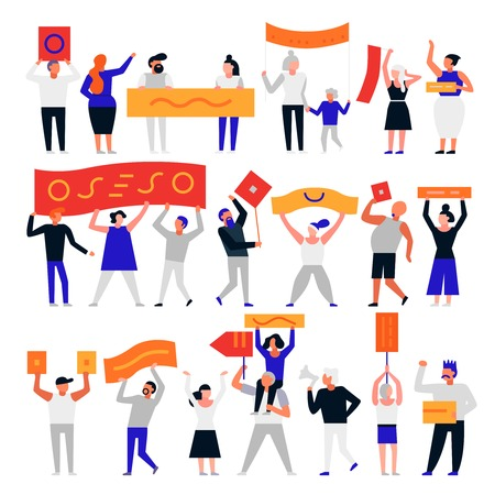 Set of protesting people with flags and placards isolated on white background flat vector illustration