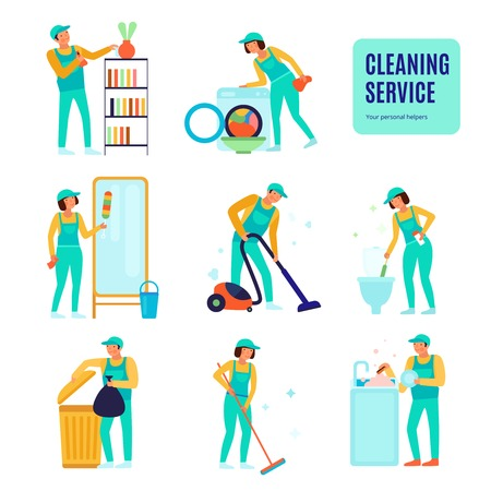 Staff of cleaning service during various domestic work set of flat icons isolated vector illustration Stock Vector - 111187351