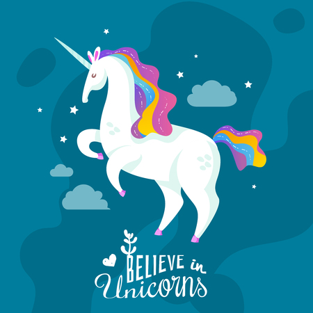 Magic cartoon background with unicorn galloping through night sky and offer to believe in miracles vector illustration