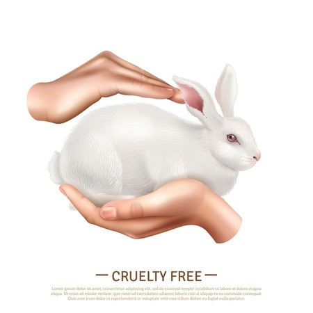 Cruelty free design concept with little cute rabbit in human hands as symbol of animals protection realistic vector illustration