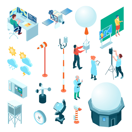 Meteorological center set of isometric icons with weather measuring equipment and forecasters isolated vector illustration